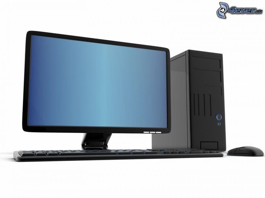 komputer, monitor, klawiatura, mysz