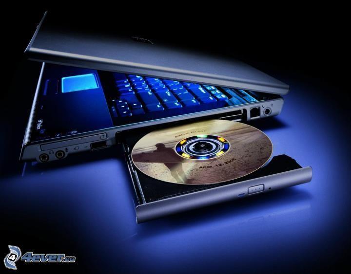 notebook, CD, oświetlenie