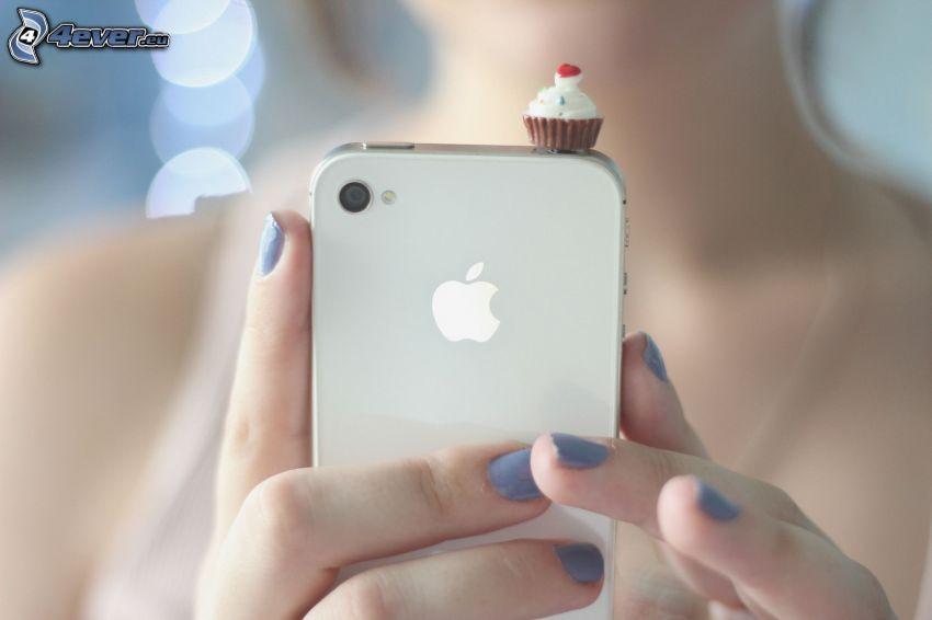telefon komórkowy, Apple, ciasteczko, palce
