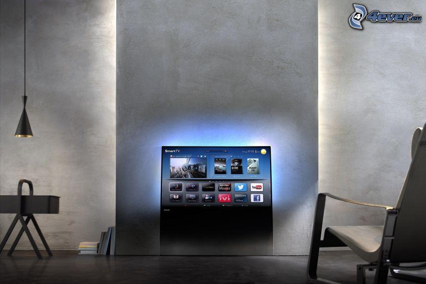 telewizor, ściana, światło
