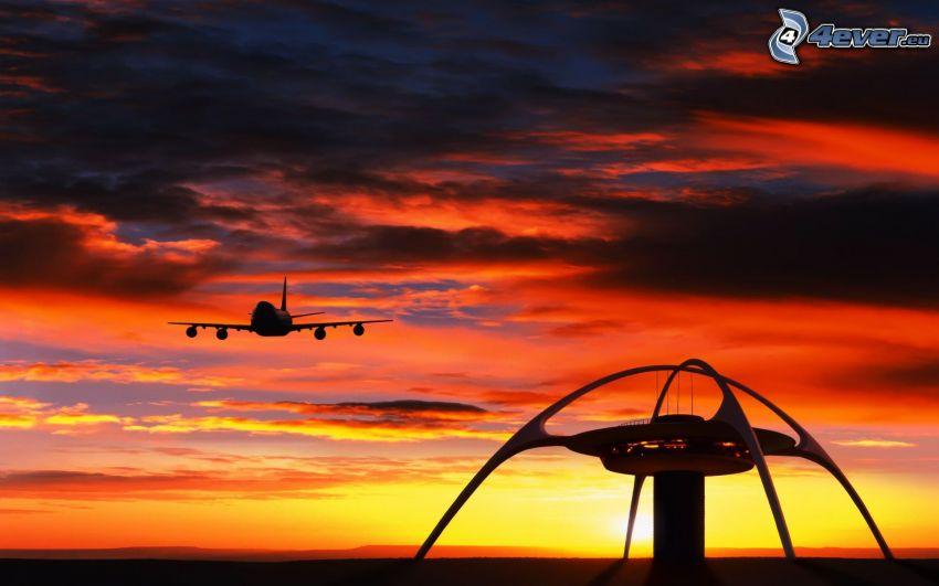 wieża kontroli, lądowanie, Boeing 747, samolot przy zachodzie słońca