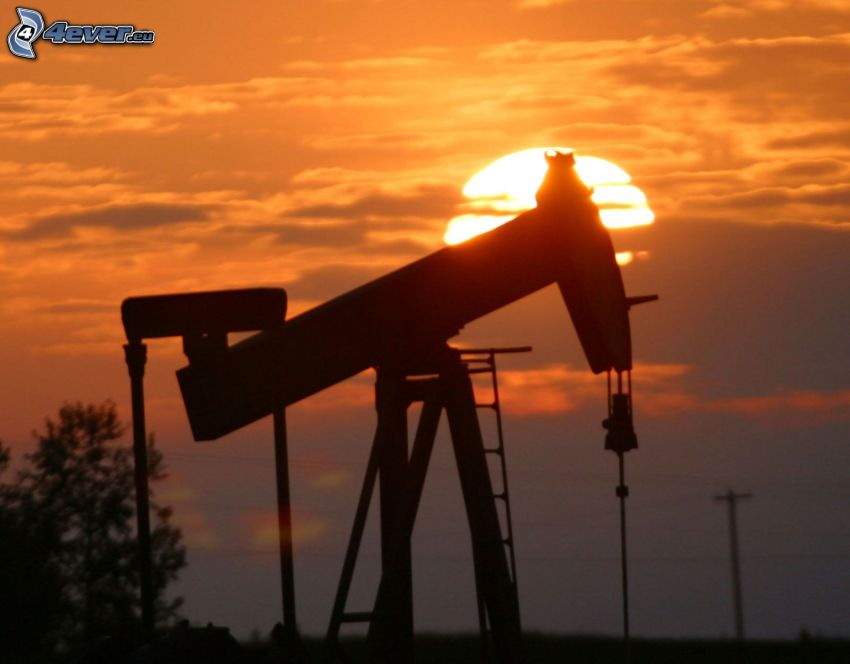 wieża wiertnicza, zachód słońca, ropa