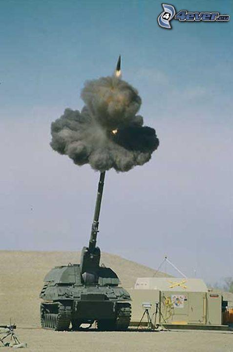 strzał, czołg, wojsko, wojna