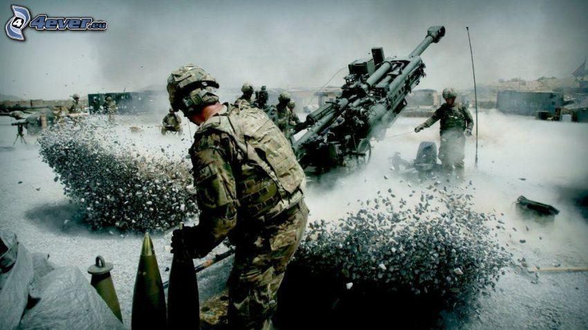 żołnierze, armata