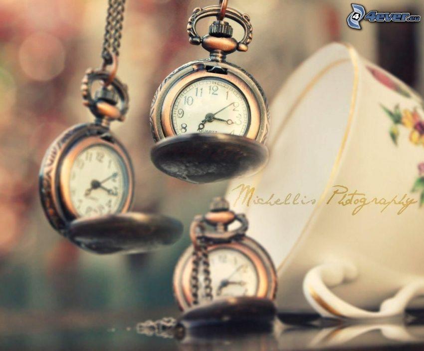 zabytkowy zegarek, wisiorek, filiżanka