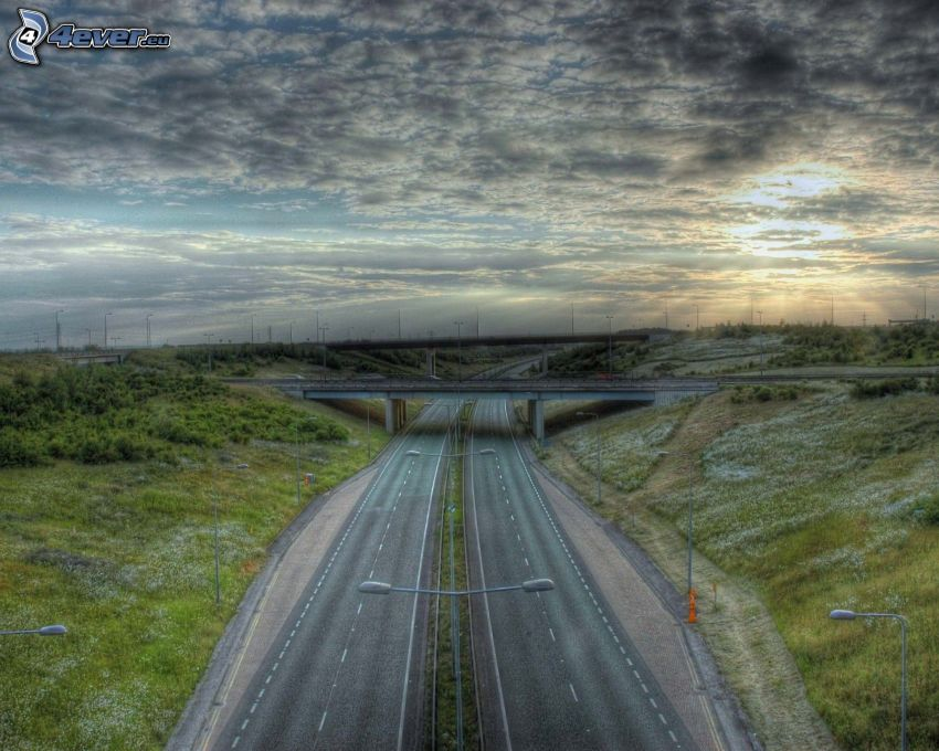 autostrada, most, HDR, niebo
