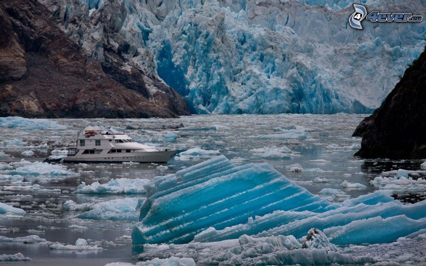 jacht, kry, lodowiec