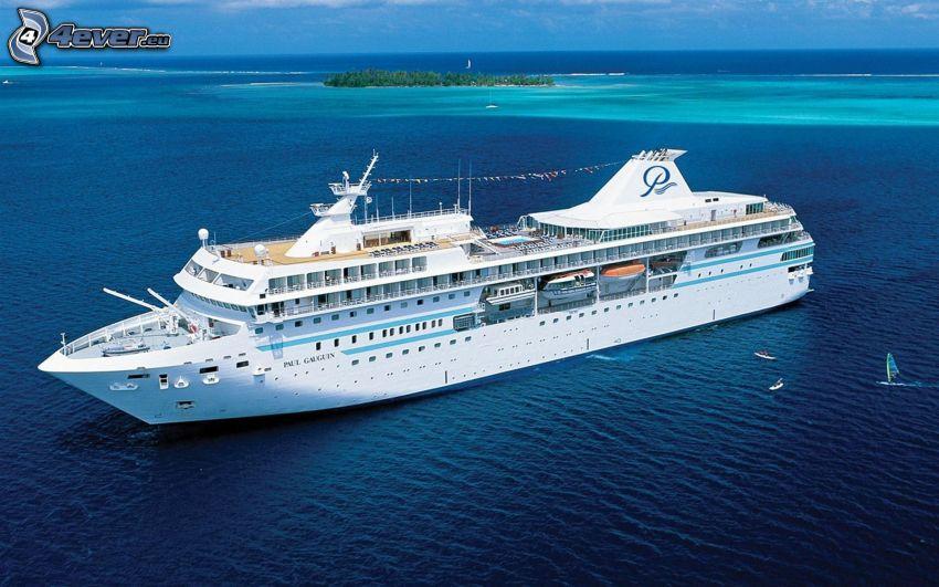 luksusowy statek, morze, wyspa