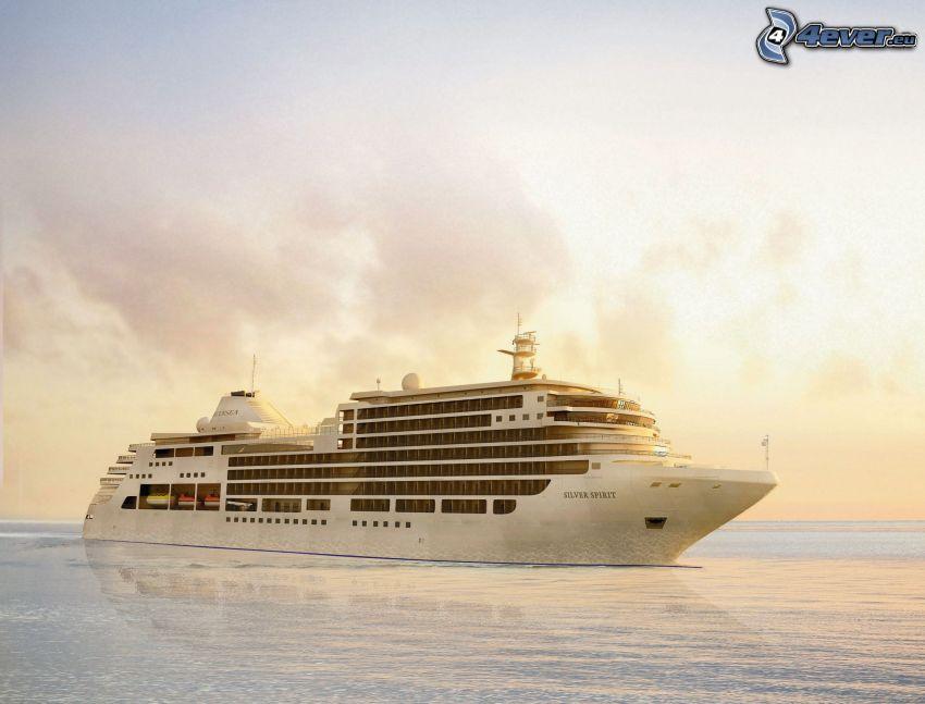 luksusowy statek, żółte niebo, morze