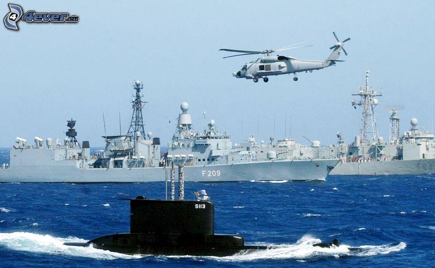 marynarka i siły powietrzne, statki, łódź podwodna, wojskowy śmigłowiec, morze, niebo
