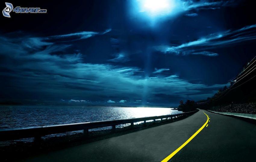 nocna ulica, księżyc, niebo w nocy