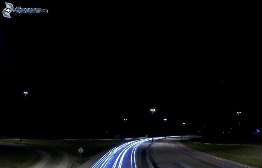 nocna ulica, światła, zakręt, noc