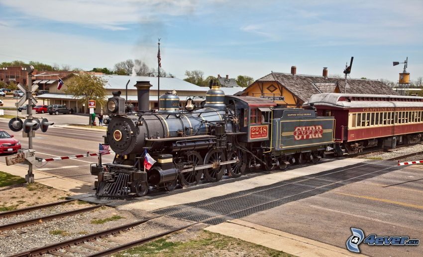 pociąg parowy, tory kolejowe, przejazd kolejowy, HDR