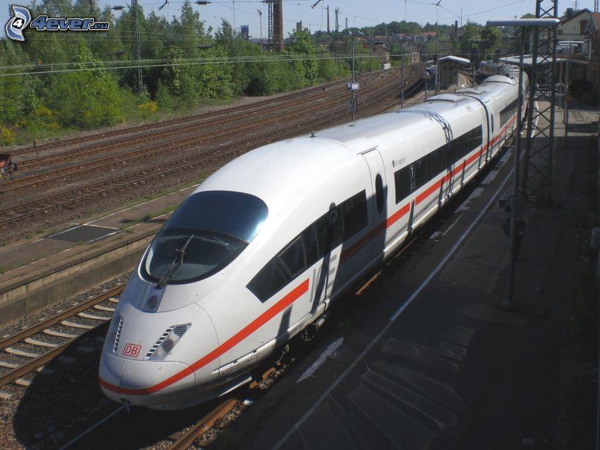 ICE 3, szybka kolej, kolej żelazna, tory kolejowe, stacja kolejowa