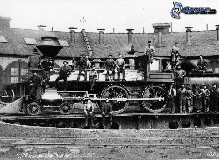 Jupiter, parowóz, Utah Central Railroad, Ameryka, robotnicy
