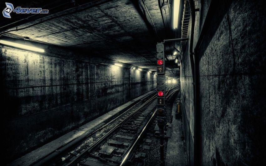 metro, tunel kolejowy, tory kolejowe, semafor