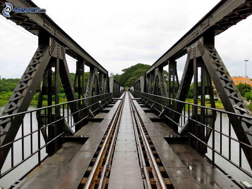most kolejowy, zielone drzewa