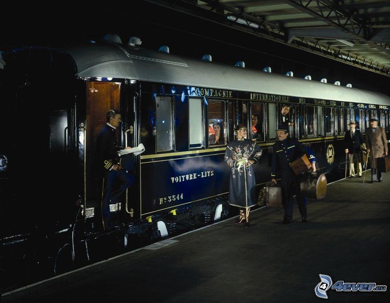 Orient Express, historyczne wagony, Pullman, stacja kolejowa