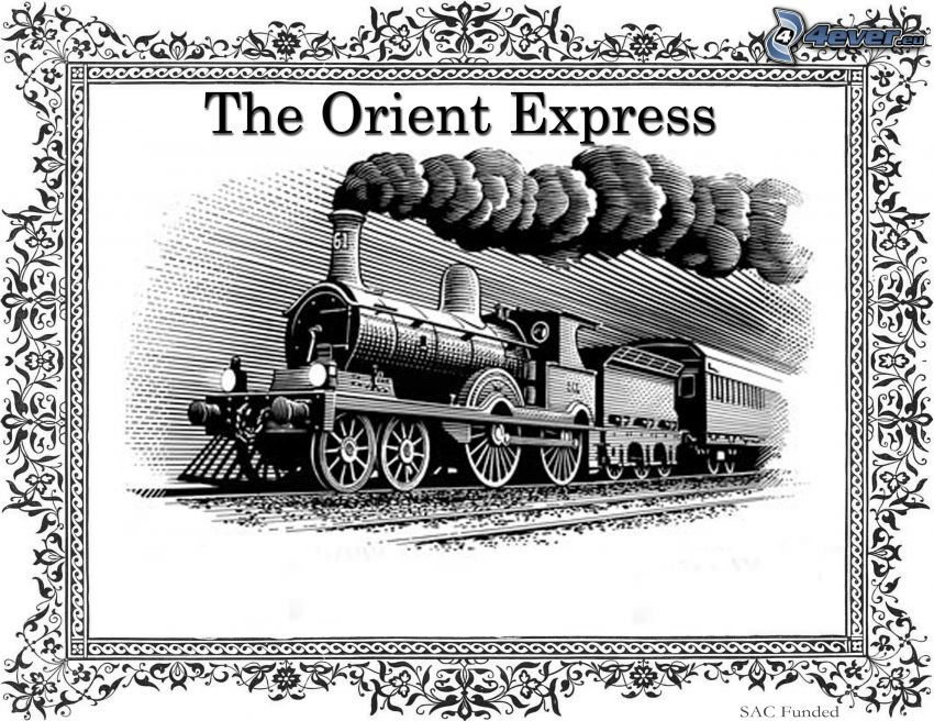 Orient Express, pociąg parowy, znaczek, rysowane