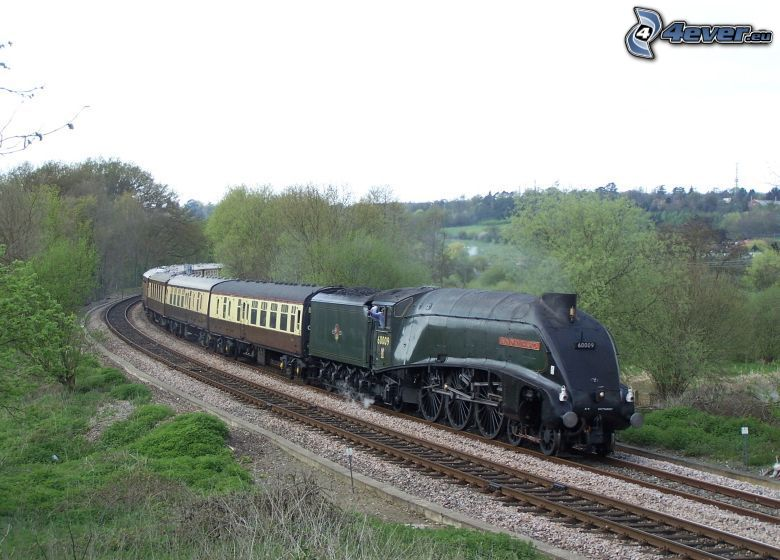 Orient Express, Pullman, Mallard, pociąg parowy, Anglia, tory kolejowe