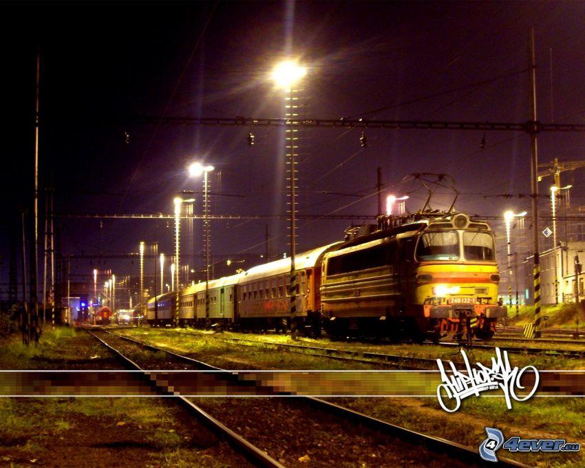 pociąg, lokomotywa, tory kolejowe, stacja