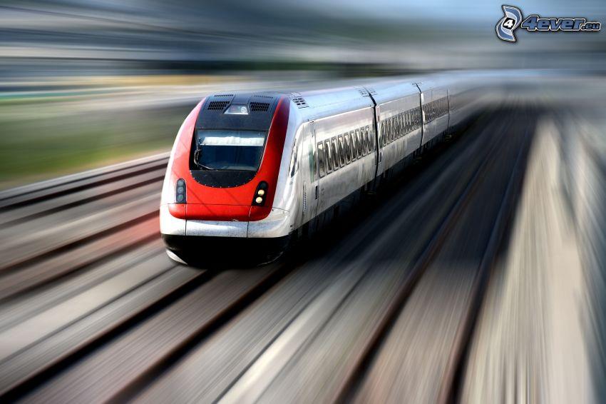 pociąg, prędkość, tory kolejowe