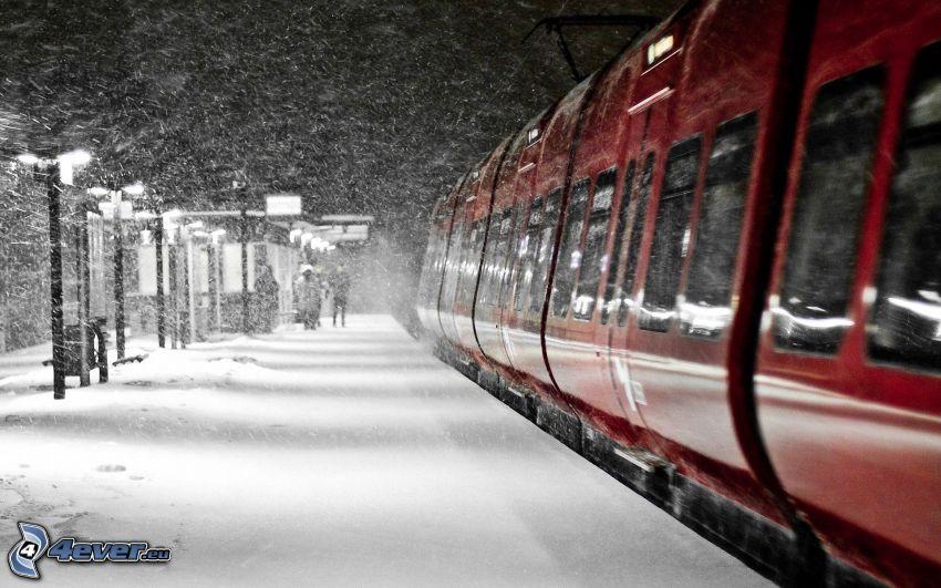 pociąg, stacja kolejowa, śnieg