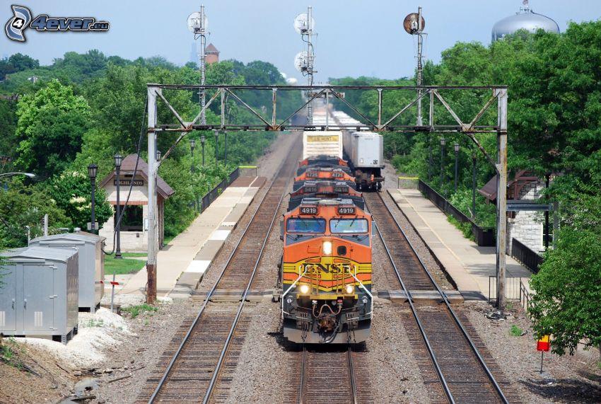 pociąg, tory kolejowe, BNSF, USA