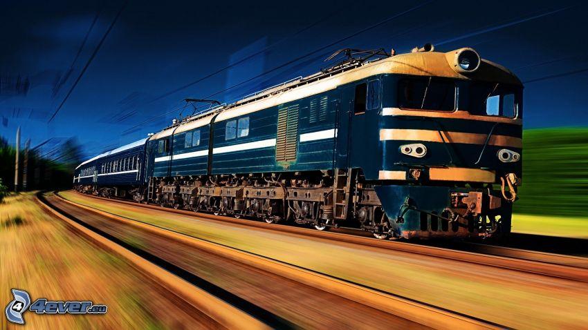 pociąg, tory kolejowe