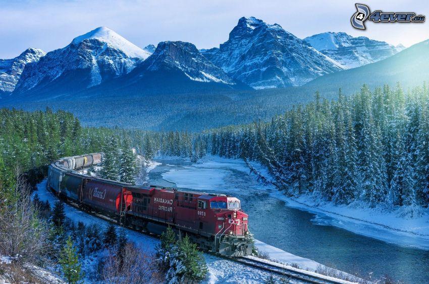pociąg, zaśnieżone góry, las iglasty, rzeka