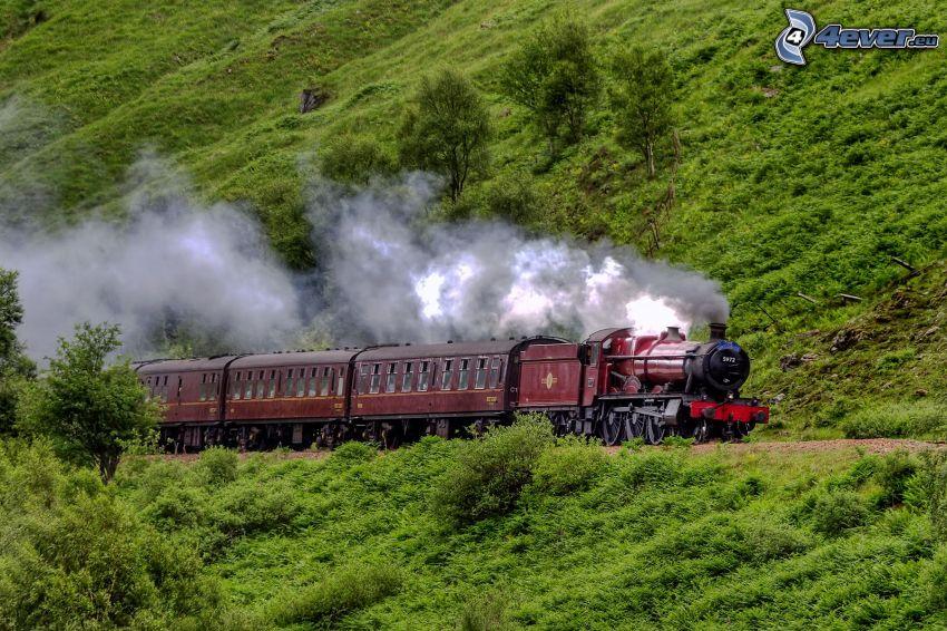 pociąg parowy, angielska wieś
