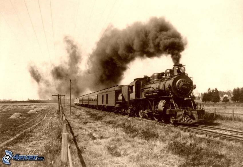 pociąg parowy, stare zdjęcie, Ameryka