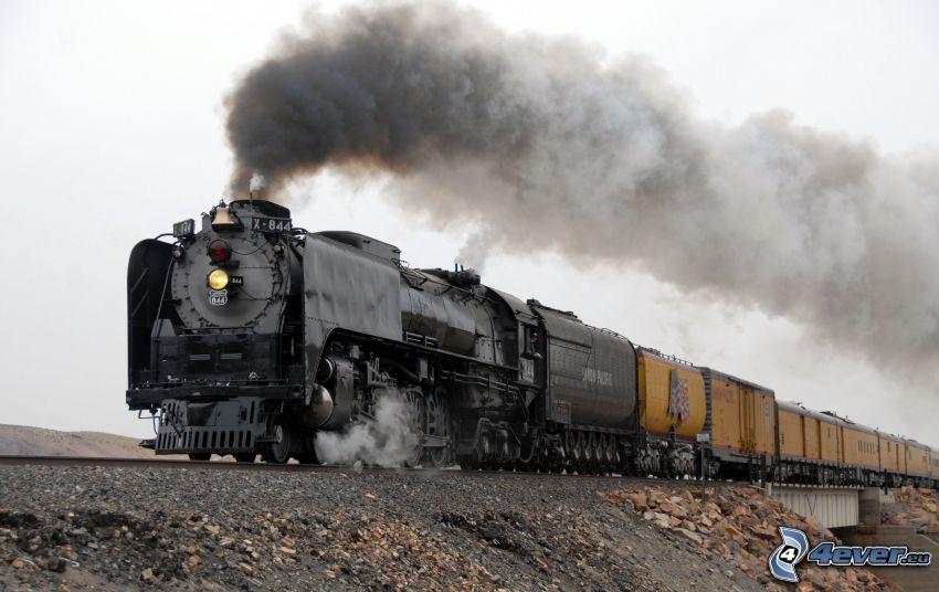 pociąg parowy, Union Pacific, pociąg towarowy