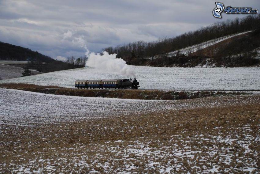 pociąg parowy, zaśnieżone pola