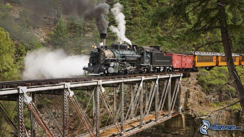 pociąg parowy, żelazny most, las