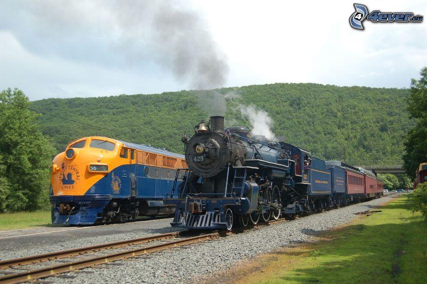 pociągi, pociąg parowy, USA, pasmo górskie