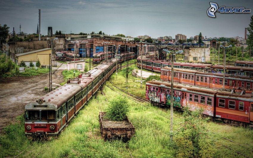 pociągi, stacja, HDR