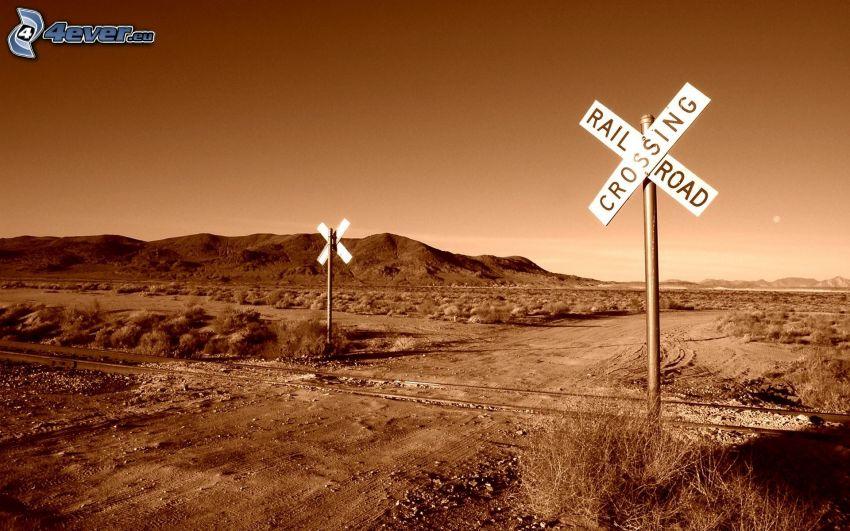 przejazd kolejowy, polna droga, znak drogowy, sepia