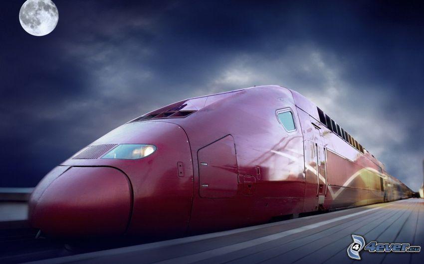 TGV, szybka kolej, noc, Księżyc