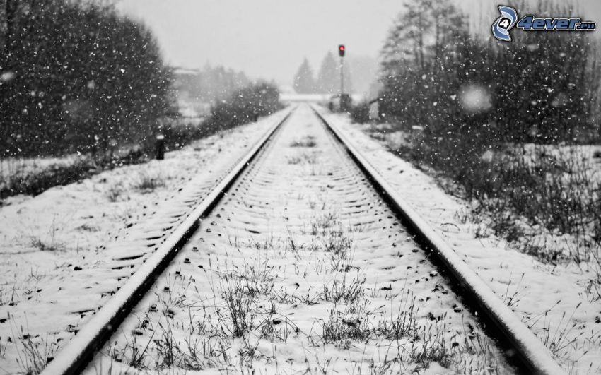 tory kolejowe, śnieg