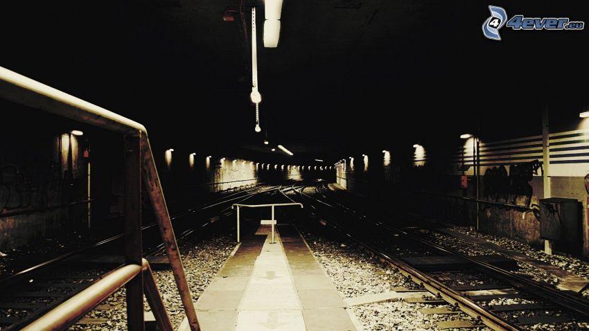 tunel, kolej żelazna, tory kolejowe