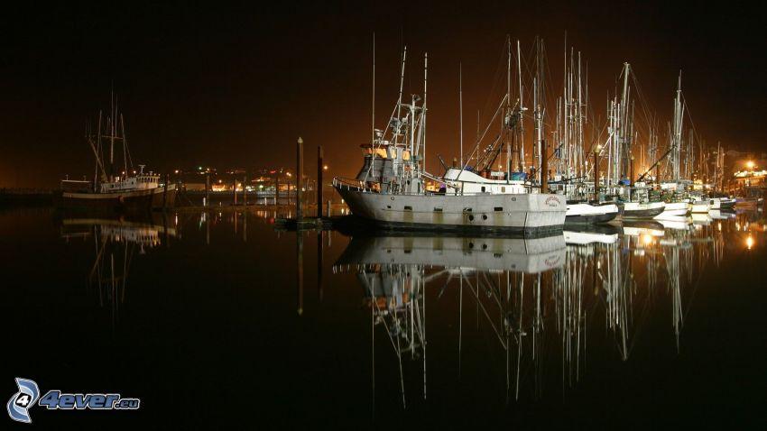 port, statki, noc