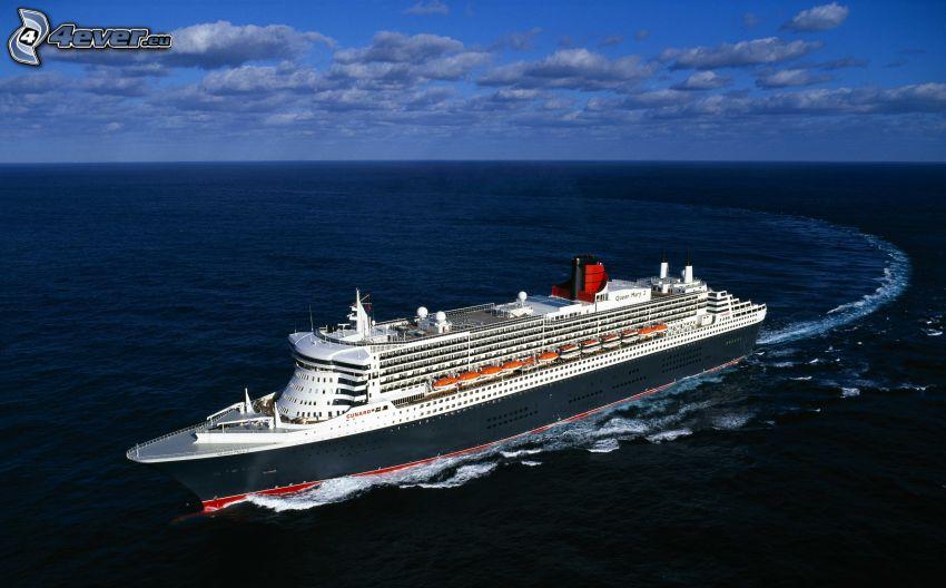 Queen Mary 2, luksusowy statek, morze otwarte