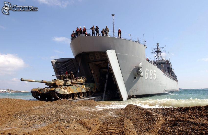 statek, czołg, brzeg