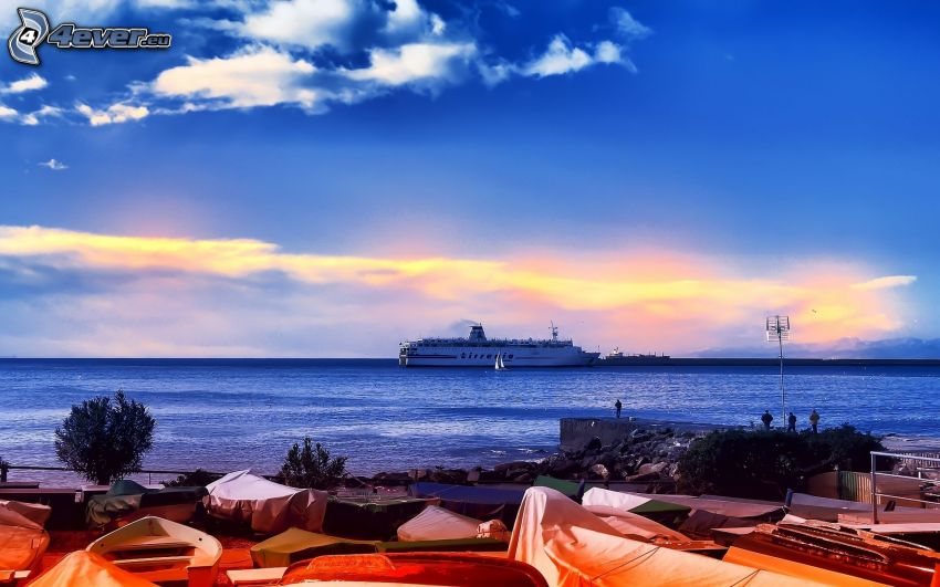 statek, morze, port
