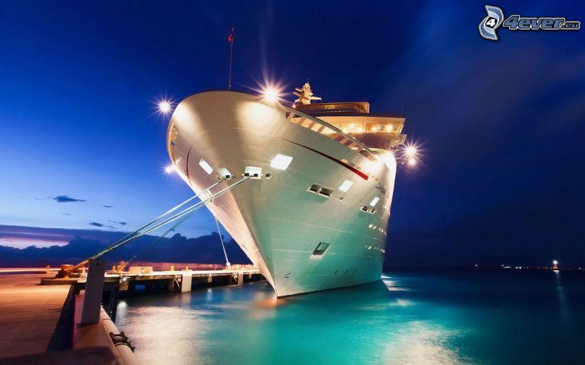 statek, port, wieczór