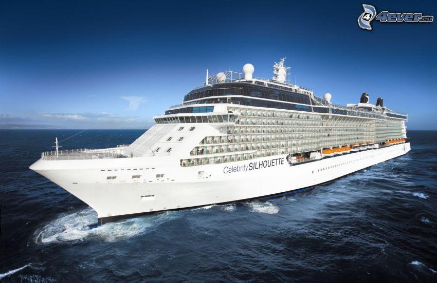 statek wycieczkowy, morze, niebo