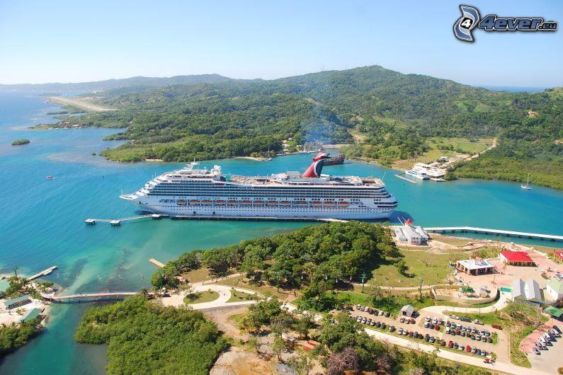 statek wycieczkowy, wzgórza, parking, morze