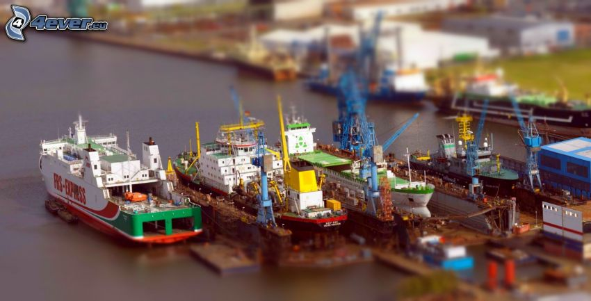 statki, port, diorama