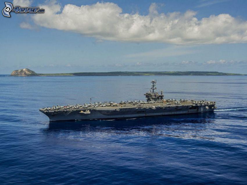 USS George Washington, lotniskowiec, morze, pasmo górskie